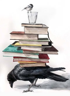"""""""The Burden"""" Contemporary Surrealist watercolor (raven with books and chickadee)"""