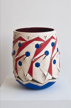 Scarified Red Blue Honeycomb Vase