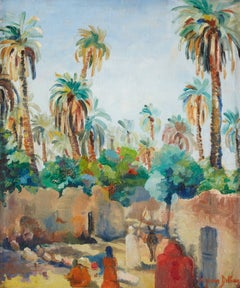 Village Near a Palm Grove