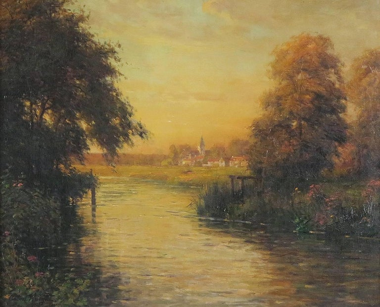 Louis Aston Knight Landscape Painting - Twilight along the River Bend