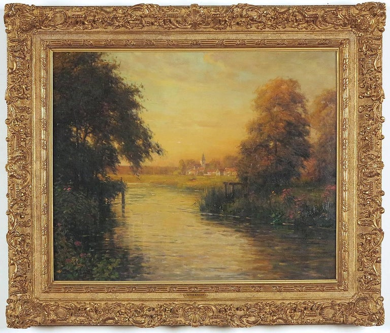 Twilight along the River Bend  - Painting by Louis Aston Knight