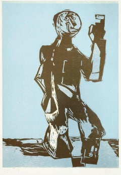 Clitunno, Woodcut, Contemporary Art, 20th Century, New Expressionist