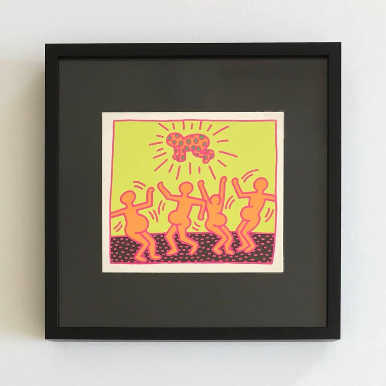 This set of six promotional cards was published by the Tony Shafrazi Gallery in 1983, in order to promote Keith Haring's soon-to-be-released portfolio of five screen-prints, better known as