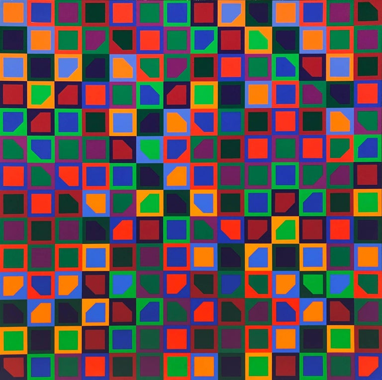 Victor Vasarely Abstract Print - Untitled (School Print), Silkscreen in Colors, Op-Art, Geometric Abstraction