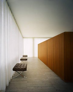 Mies van der Rohe Farnsworth House, Barcelona Stools by Francois Dischinger