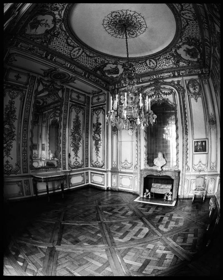 Francois Dischinger Versailles Parlor archival black and white silver fiber print mounted to dibond and framed in lacquer wood 20 x 16 inches, 20.75 x 16.75 inches framed edition of 15 with 6 APs signed and numbered