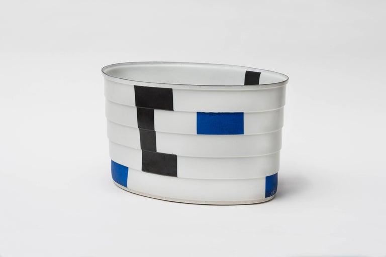 Bodil Manz blue, white, and black stepped porcelain vessel, made in Denmark