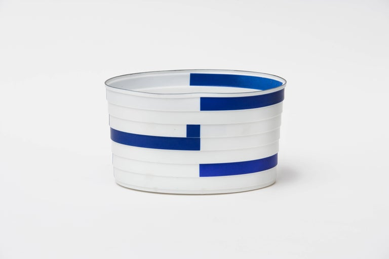 Bodil Manz, porcelain vessel in white, blue, and black, made in Denmark 1