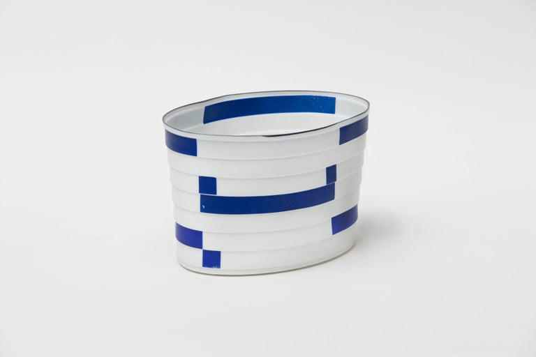 Bodil Manz, porcelain vessel in white, blue, and black, made in Denmark 2