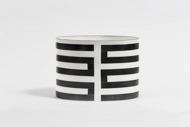 Bodil Manz, ceramic vessel in black and white, made in Denmark