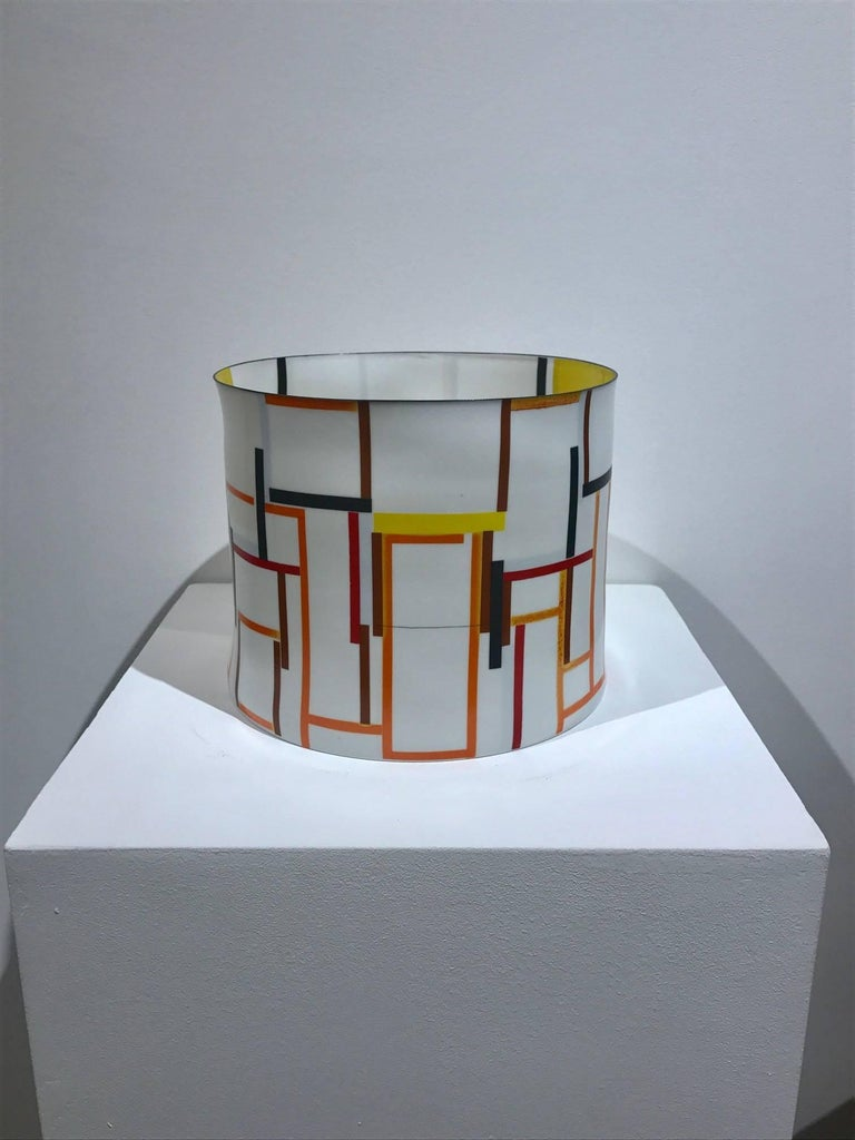 Bodil Manz, tall vessel with geometric designs, made in Denmark For Sale 3