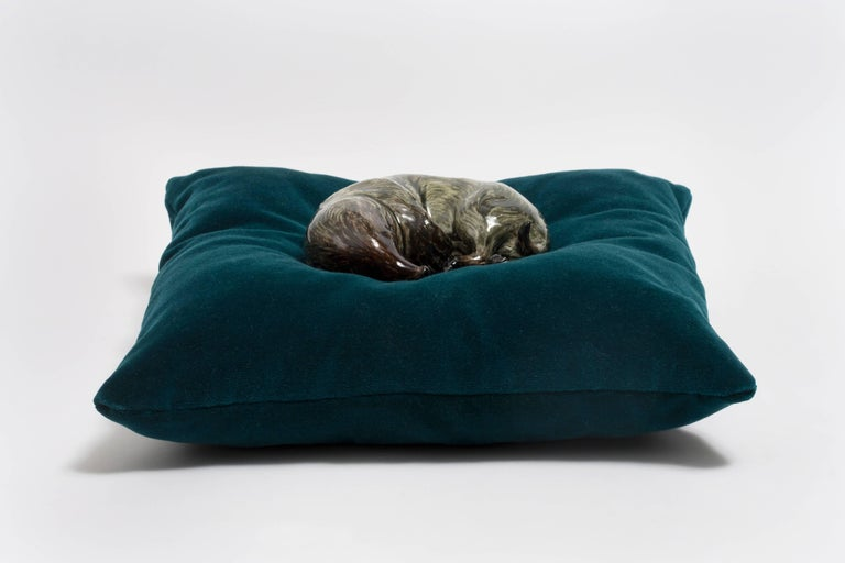 Frida Fjellman, Sleeping Weasel ceramic animal sculpture, created in Sweden 1