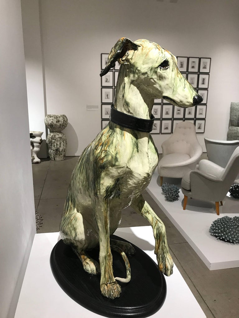 Portrait of Babs, ceramic greyhound sculpture by Swedish Frida Fjellman 1