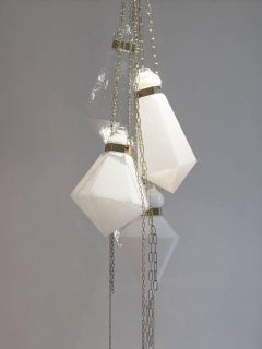 White crystal handblown glass prism sculpture chandelier by Frida Fjellman