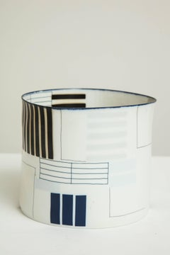 Bodil Manz ceramic vessel with geometric black on white designs, made in Denmark