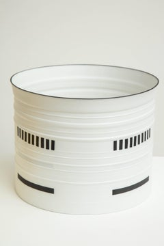 Bodil Manz black and white porcelain vessel, made in Denmark