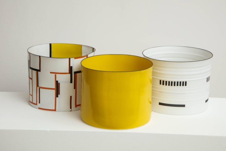 Bodil Manz, tall vessel with geometric designs, made in Denmark 2