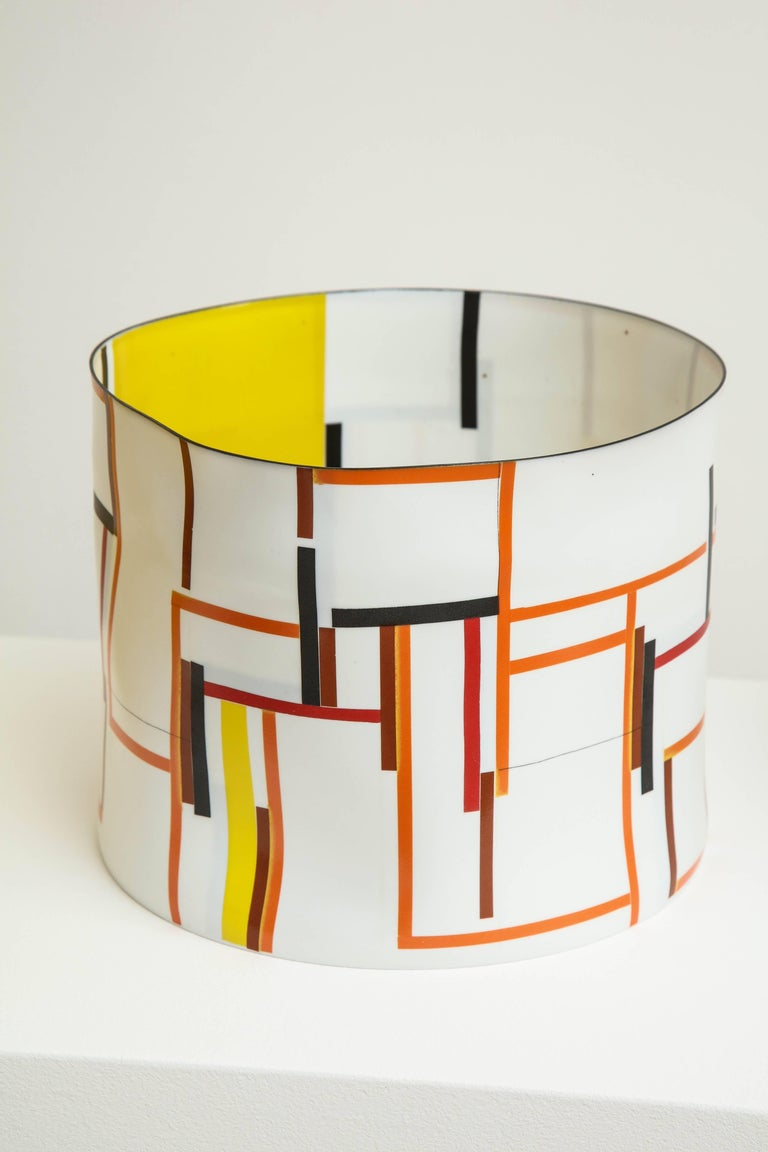 Bodil Manz, tall vessel with geometric designs, made in Denmark - Sculpture by Bodil Manz