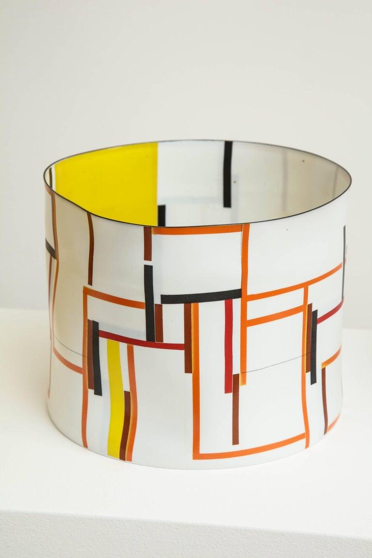 Bodil Manz - Bodil Manz, tall vessel with geometric designs, made in Denmark 1
