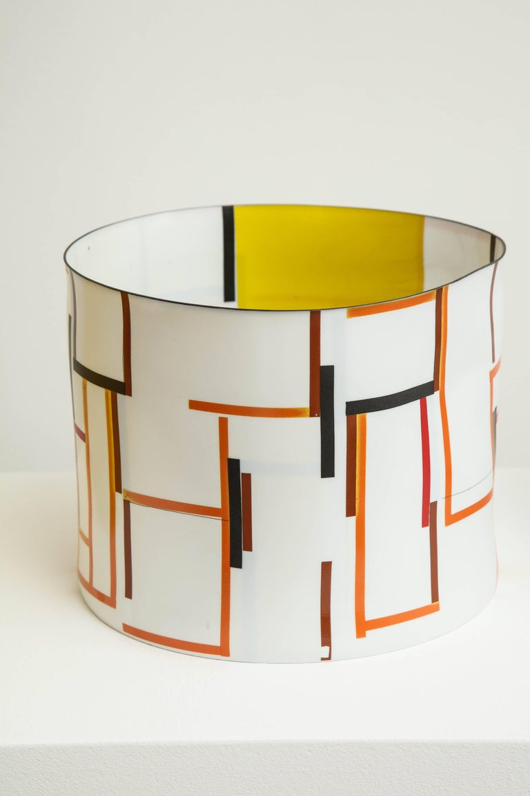 Bodil Manz, tall vessel with geometric designs, made in Denmark 3
