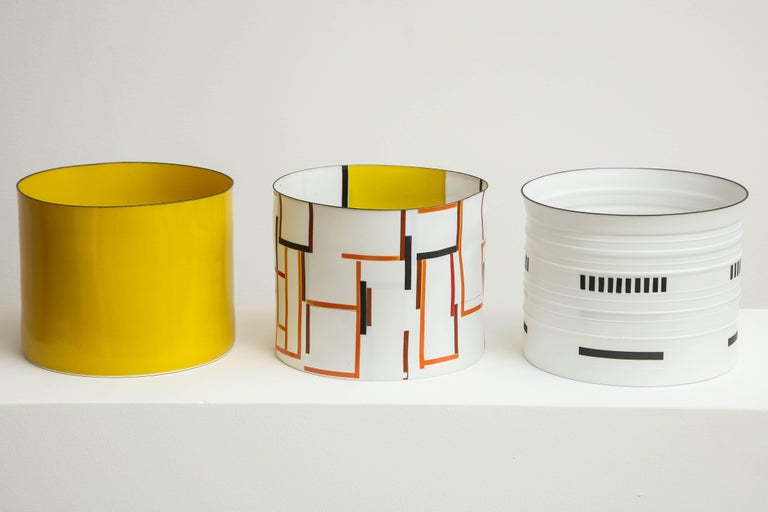Bodil Manz, tall vessel with geometric designs, made in Denmark 4
