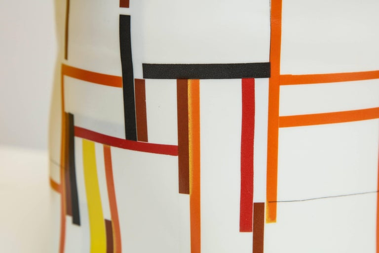 Bodil Manz, tall vessel with geometric designs, made in Denmark 5