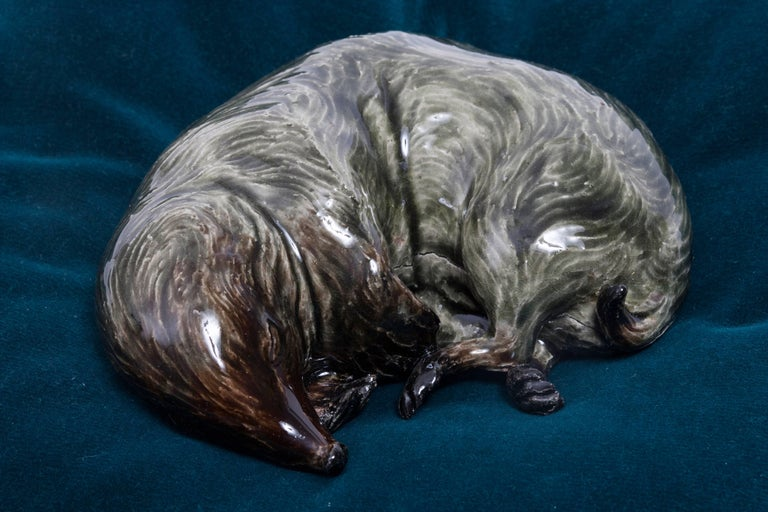 Frida Fjellman, Sleeping Weasel ceramic animal sculpture, created in Sweden For Sale 1