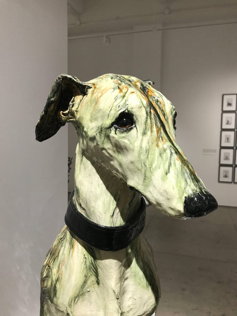 Portrait of Babs, ceramic greyhound sculpture by Swedish Frida Fjellman For Sale 1