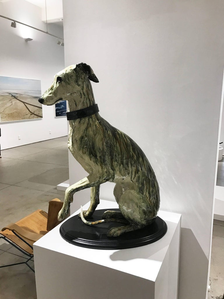 Portrait of Babs, ceramic greyhound sculpture by Swedish Frida Fjellman 3