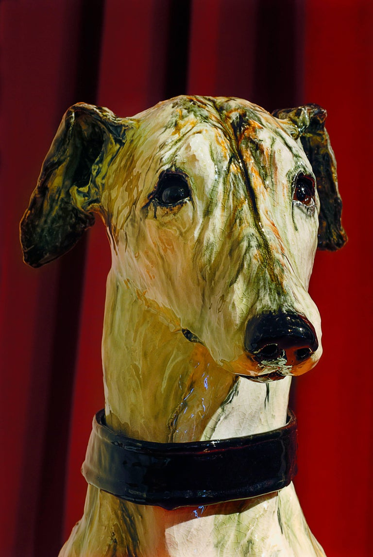 Portrait of Babs, ceramic greyhound sculpture by Swedish Frida Fjellman For Sale 4