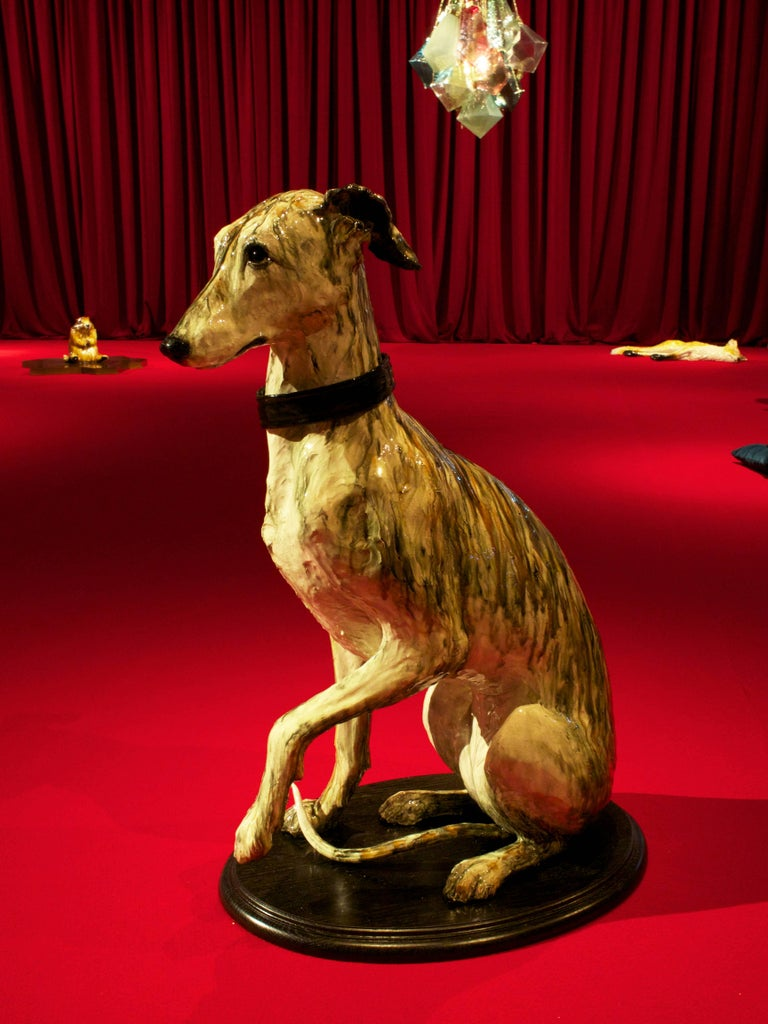 Portrait of Babs, ceramic greyhound sculpture by Swedish Frida Fjellman For Sale 5