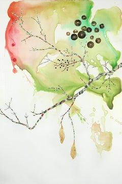 "Marilla Palmer ""Dangling Iris"" -- Mixed Media Painting on Paper"