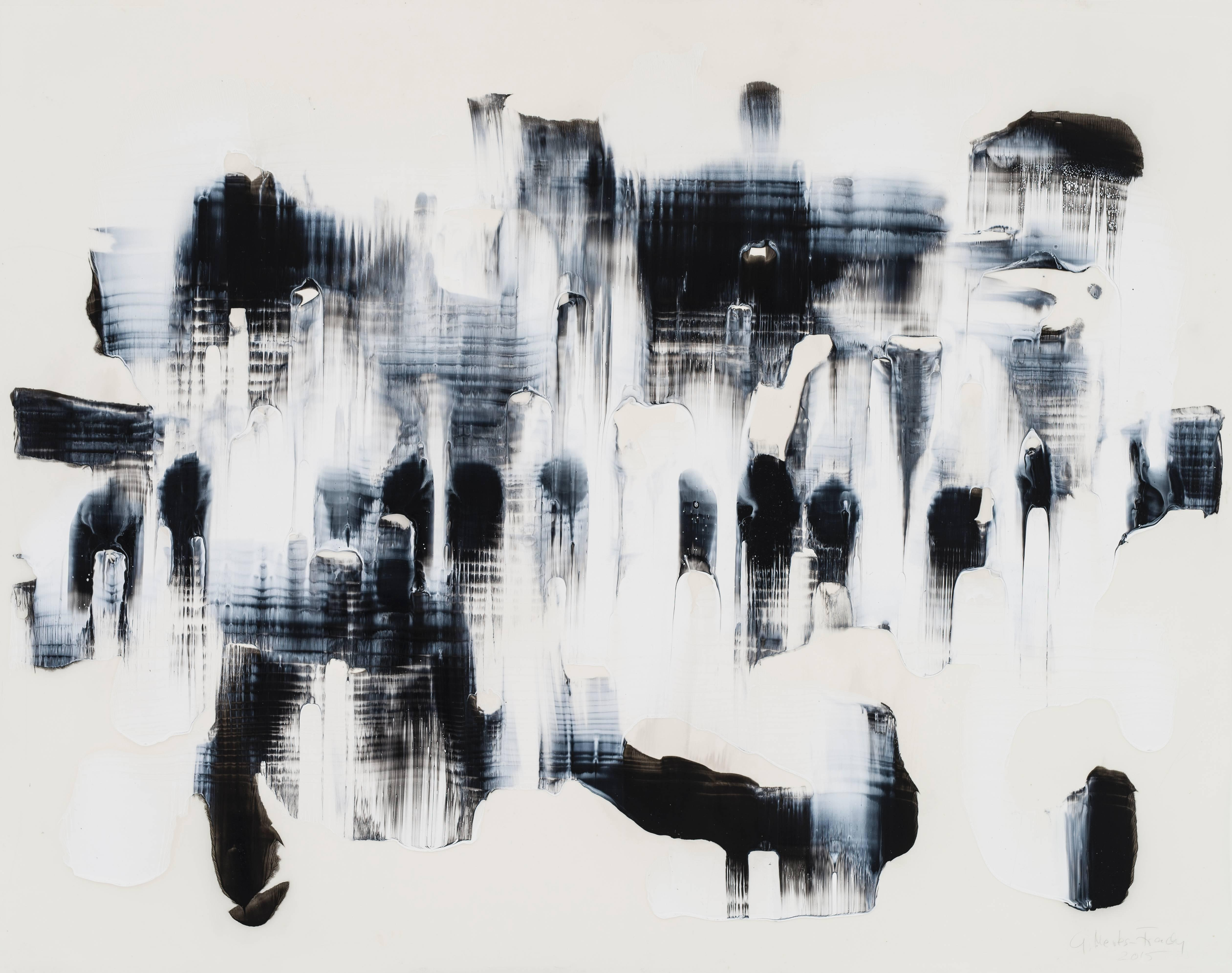 """Gudrun Mertes-Frady """"Moves in Black and White 16"""" Abstract Mixed Media Painting"""
