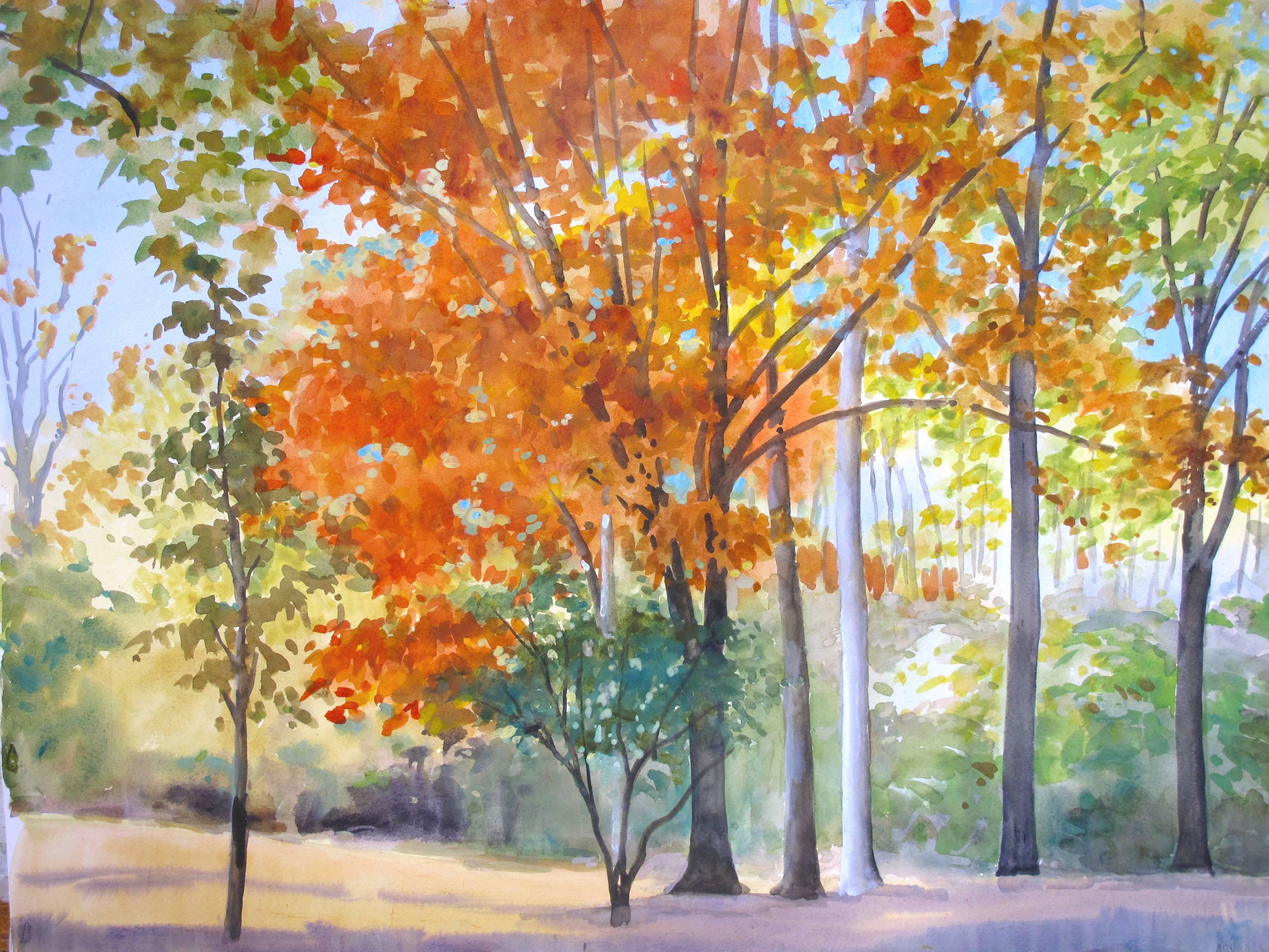 """Elissa Gore """"Red Maple"""" -- Landscape Painting on Paper"""