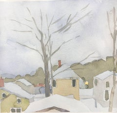 """Sara McCulloch """"Winter Rooftops"""" -- Watercolor Painting on Paper"""