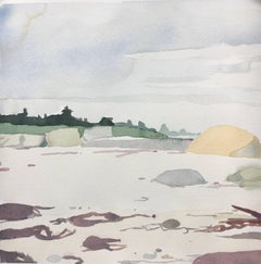 "Sara McCulloch ""Beach"" -- Coastal Landscape Gouache on Paper"