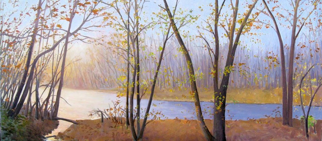 "Elissa Gore ""Neshaminy Creek"" -- Landscape Oil Painting on Canvas"