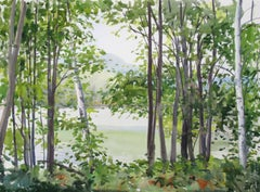 """Elissa Gore """"Summer Lake 5"""" -- Landscape Watercolor Painting on Paper"""