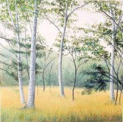 "Elissa Gore ""Birch Field 3"" -- Landscape Painting on Paper"