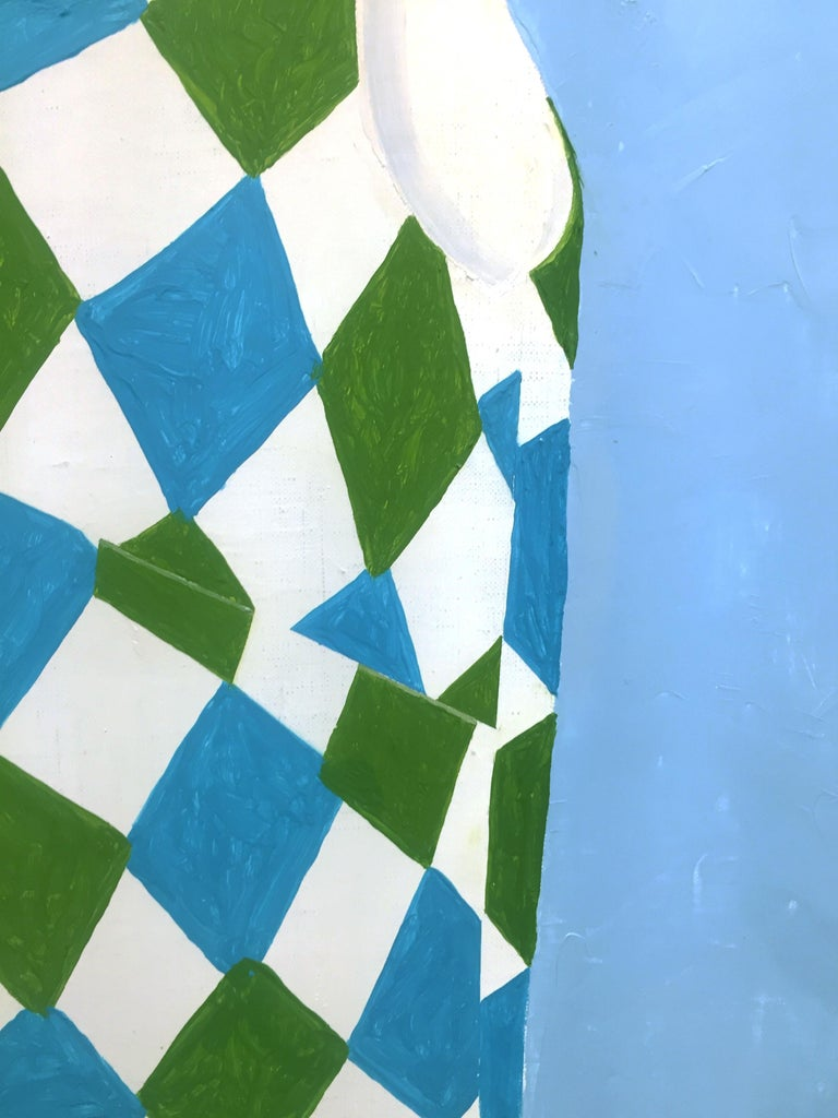 Sydney Licht JL's Shirt, 2019 oil on linen 28 x 28 in.  This original still life oil painting features a small child's shirt on a hanger with a white, blue, and green diamond pattern against a light blue background.  This piece will be on view at