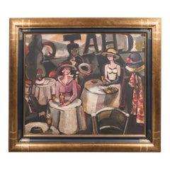 """Art Deco Oil on Canvas Painting, Entitled """"Aux Chat Qui Peche"""""""