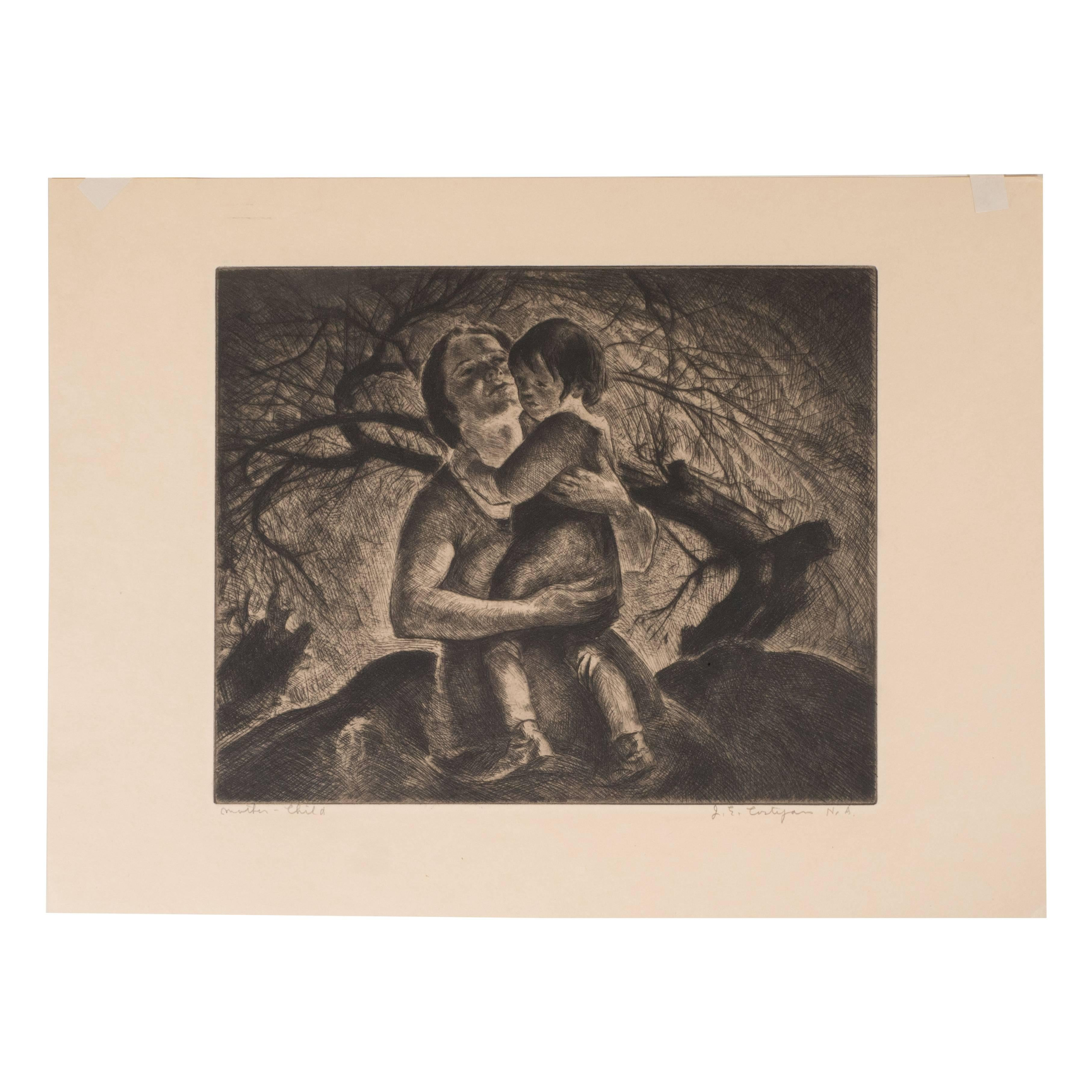 """""""Mother and Child"""" A Signed Limited Edition Etching by John E. Costigan"""