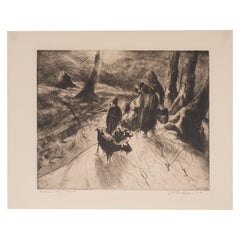 """Woman, Boy and Goats"", Original Signed Etching by John E. Costigan"