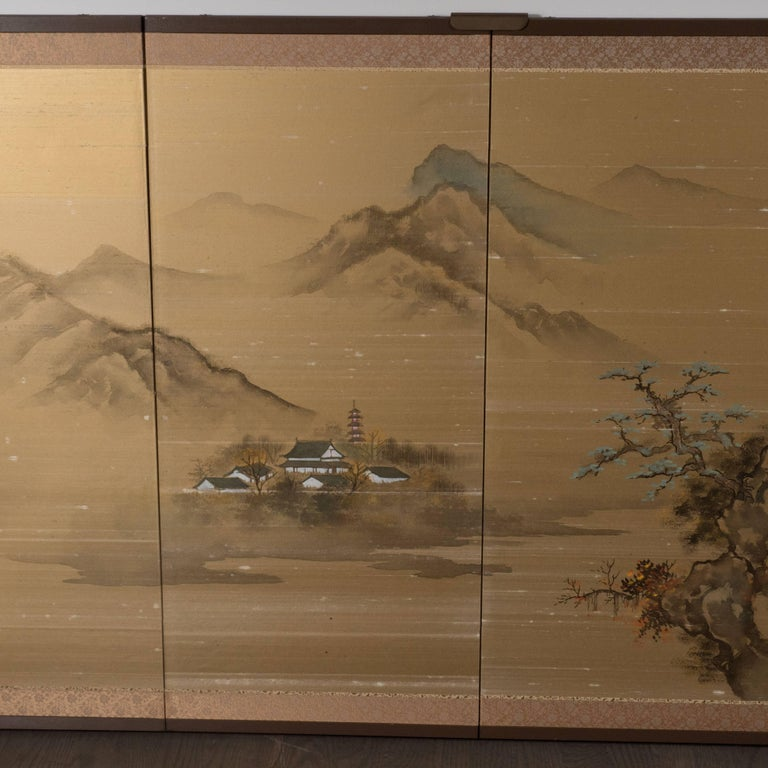 Art Deco Hand Painted Four Panel Japanese Screen with Mountain Motif - Painting by Unknown