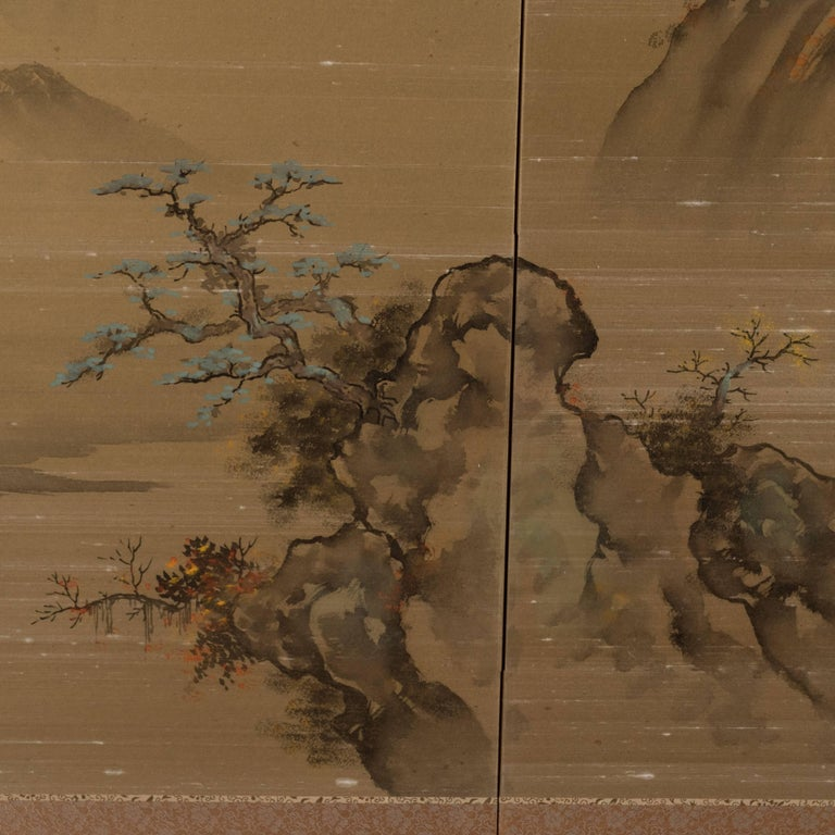 Art Deco Hand Painted Four Panel Japanese Screen with Mountain Motif For Sale 2