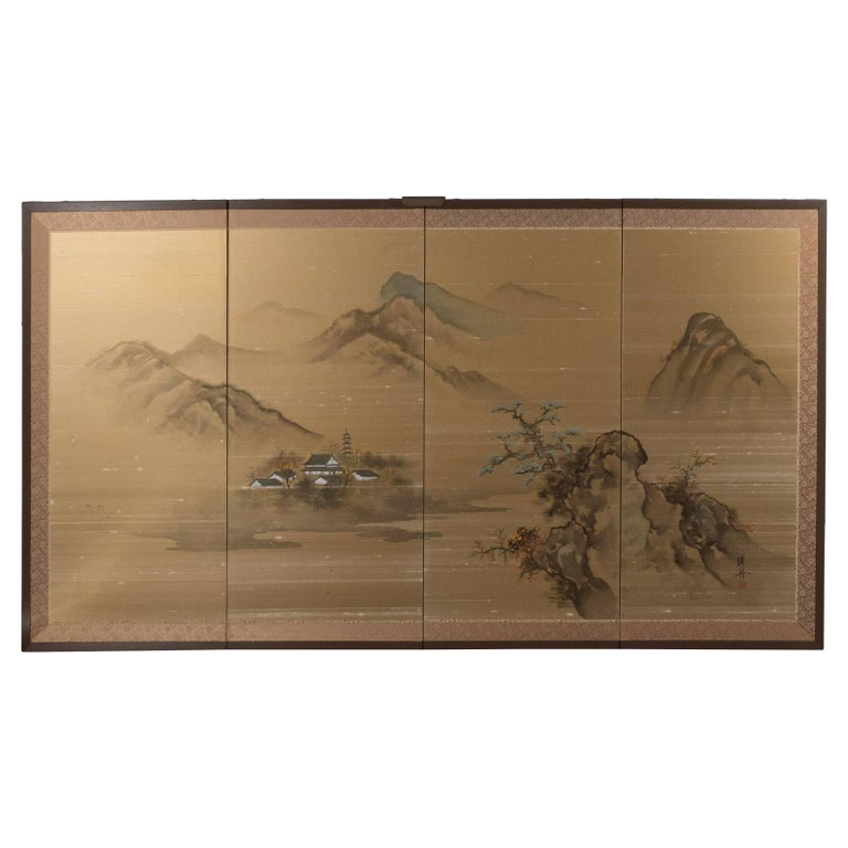 Unknown Landscape Painting - Art Deco Hand Painted Four Panel Japanese Screen with Mountain Motif