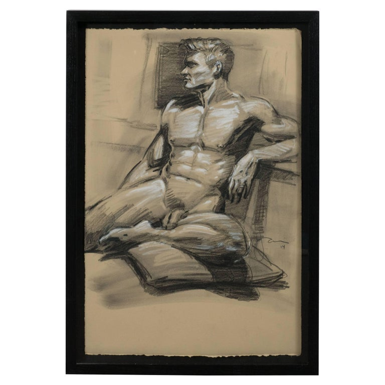 Contemporary Grisaille Pastel Male Nude Portrait, Manner of Mark Beard