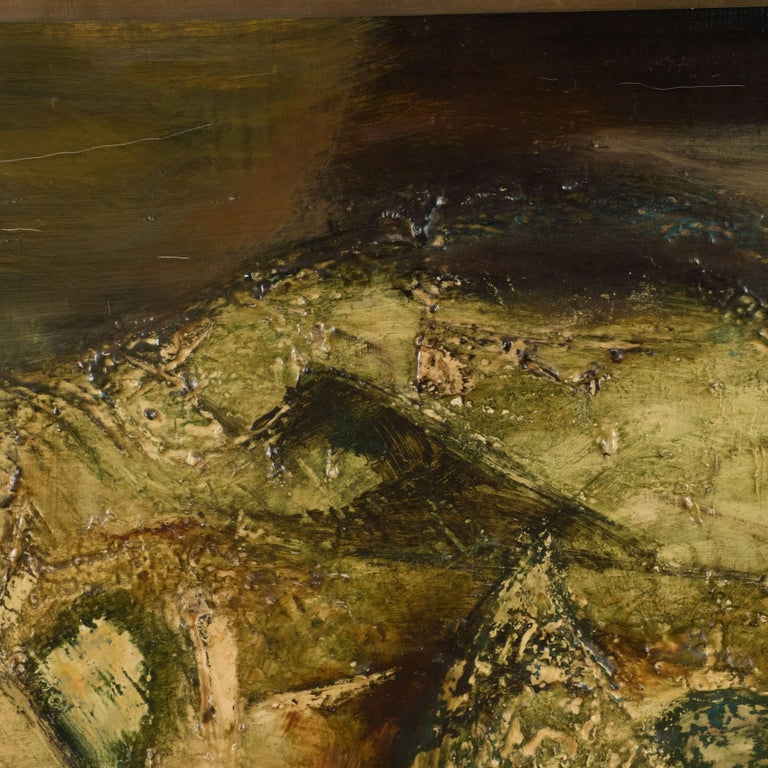 This captivating painting was produced by the Mid Century American artist, Ruth Laakso, circa 1965. It features a wealthy of earth tones- including taupes, emerald and moss tones. The surface has been painted in a heavy impasto, lending it a
