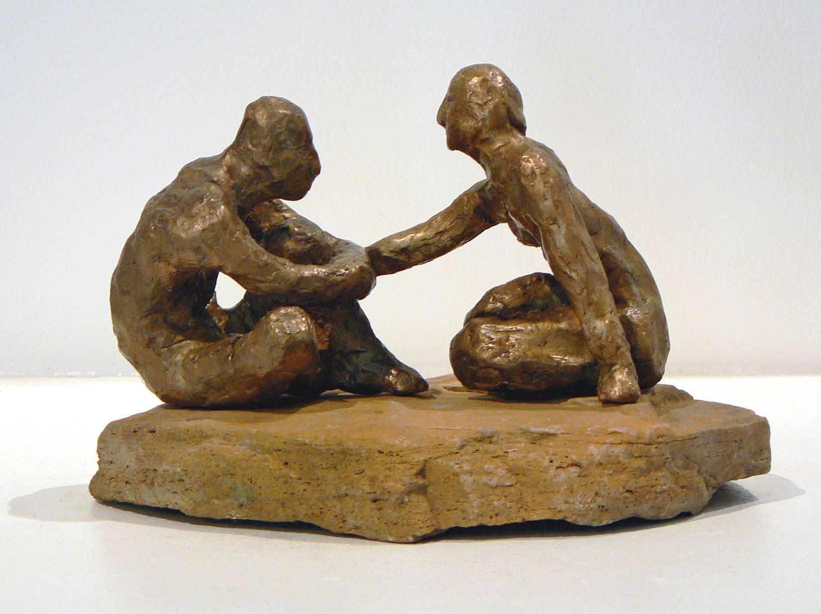Comfort -figurative bronze on stone sculpture by New York artist Noa Bornstein