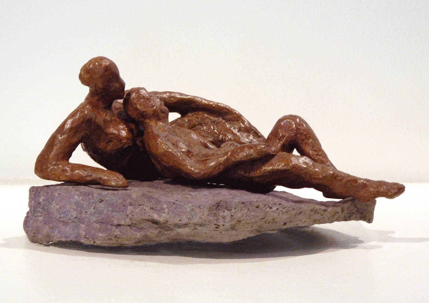 Repose -figurative bronze on stone sculpture by New York artist Noa Bornstein